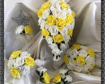 Wedding Flowers Yellow  & Ivory wedding bouquets with butterflies, Brides, Bridesmaids, Flowergirls etc