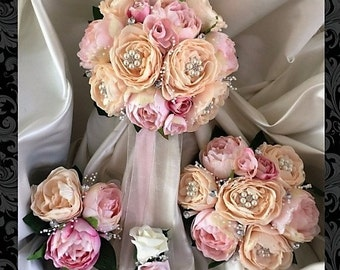 wedding bouquets,Shabby Chic, Vintage, brooches, Peach, Pink Brides, Bridesmaids, Flowergirls etc