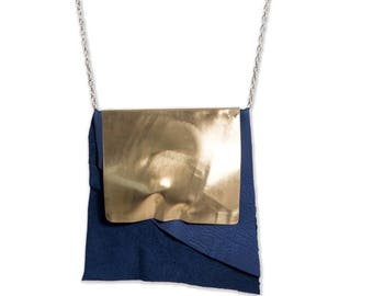 MAIA Blue leather and brass