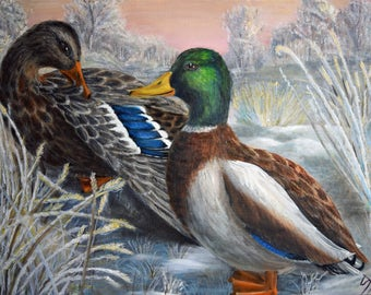 Mallard Painting, Original, Oil Painting, Drake and Hen, Ducks, Duck painting