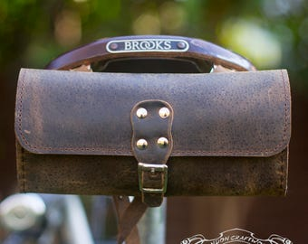 Antique Brown Leather Tool Bag Bicycle Saddle Bag
