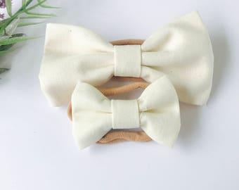 Baby Girl Bow Headband - Nylon Headbands - Hair clip - Infant / Toddler /  Hair Bows / Clips -  ivory
