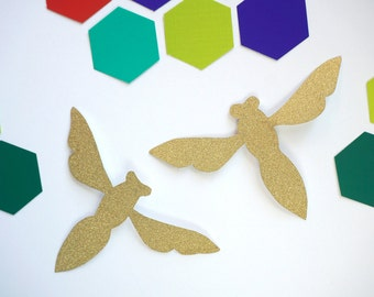 Gold Queen Bee Cutouts & Hexagon Confetti