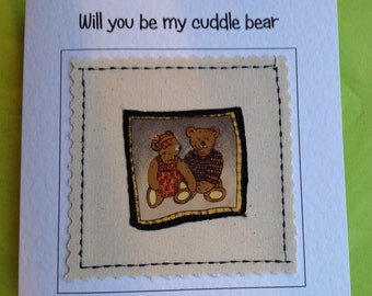 Handmade textile Valentine or anniversary card suitable for husband, wife, girlfriend, boyfriend. Your words can be printed at top of card.