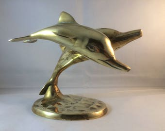 Two Dolphin ornament , brass dolphins , dolphins figurine , desk ornament , brass marine mammal , dolphin ornament , two leaping dolphins