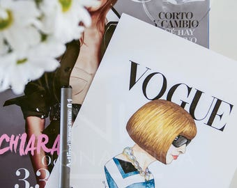 Print of my illustration of Anna Wintour. Vogue magazine editor-and-chief.