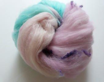 Batt merino silk Angelina hand dyed handkadiert 110 g cotton candy pastel white