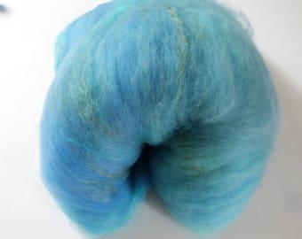 Batt hand dyed handkadiert merino, silk, mohair silk milk 125 g ladder blue green yellow