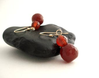 Dark Orange Earrings, Carnelian Gemstone Drop Earrings, Gold Filled Dangle Earrings, Boucles D'Oreilles Orange, Gift Idea For Her