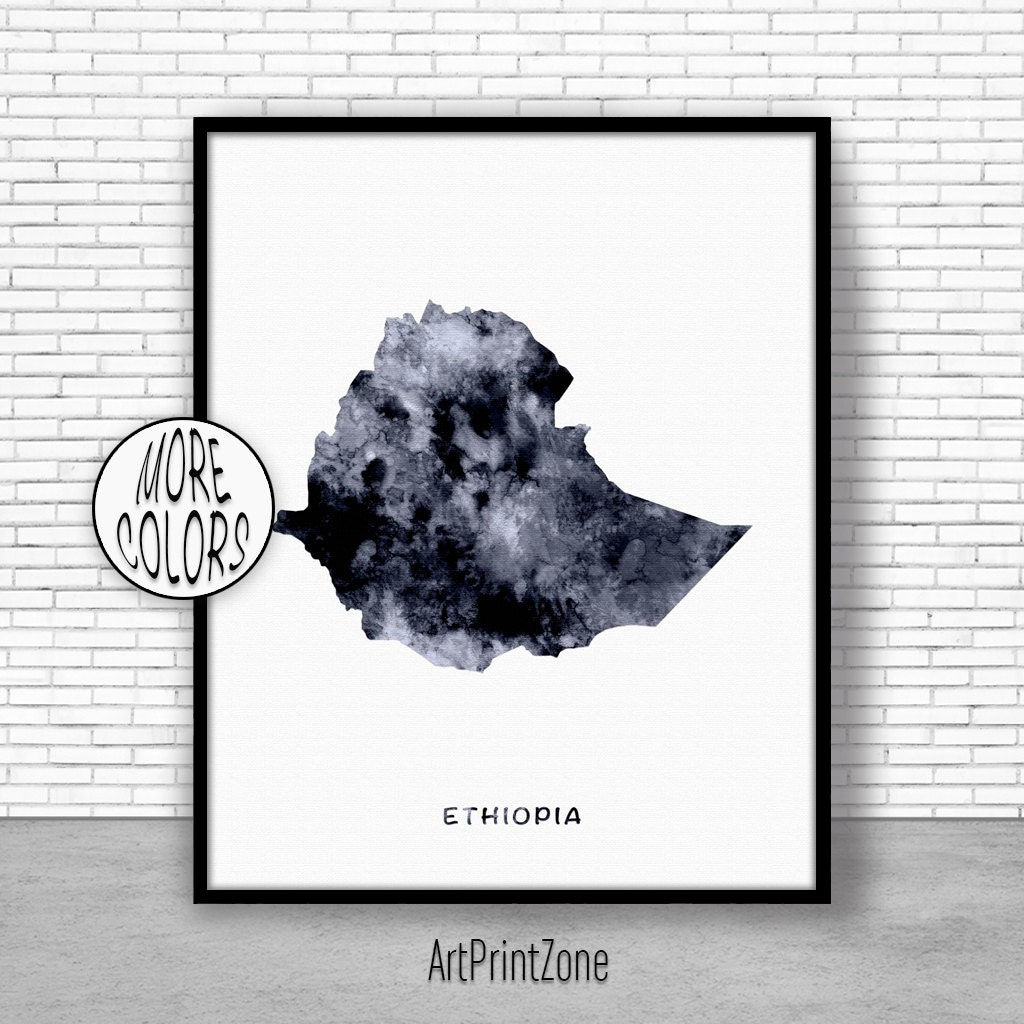 Ethiopia Print Watercolor Map Office Wall Decor Art Living Room Zone
