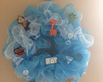 Baby boy mesh wreath handmade