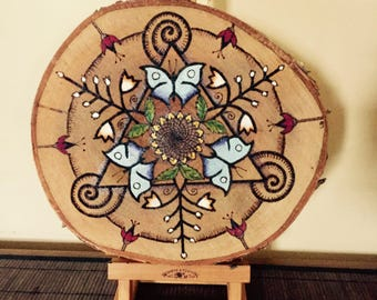 Hand burned original butterfly sunflower wood slice, pyrography table centre piece