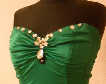 Chic satin corset with stones Svarovski! Corset wedding! green satin corset. Corset satin and lace with embroidery. Satin corset on holiday