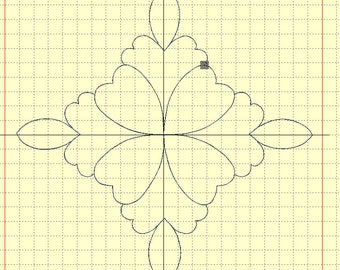 Machine embroidery applique 'Flower' for a quilt and AcuFil tool
