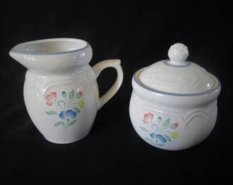 1980s Sugar Bowl & Creamer Set Floral Expressions Stoneware 3 Pieces Hand Painted Japan Vintage