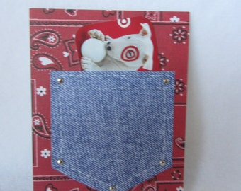 Small single blank note card.  Pocket card to hold a gift card.  Size A2 envelope.