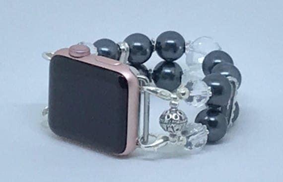 """Apple Watch Band, Women Bead Bracelet Watch Band, iWatch Strap, Apple Watch 38mm, Apple Watch 42mm, Dark Grey, Clear Size 7"""" - 7 1/4"""""""