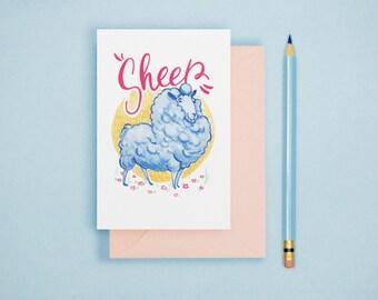 Sheep Animal Art Illustration A6 Postcard Single Print