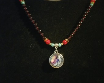 Beaded Snap Charm Necklace with charm