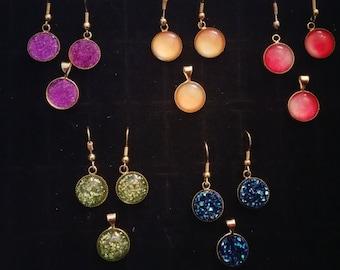 Cabachon gold tone earrings