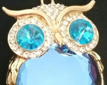 Blue Crystal Owl Necklace