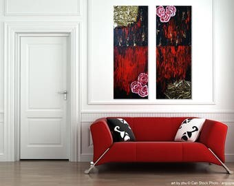 unique original painting <crimson> 2 parts acryl on canvas 30x80x2 abstract contemporary artwork red black gold paint gold foil <art by zhu>