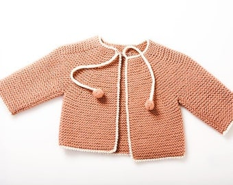 Coral Baby Girl Cardigan | Spring baby outfit | Knitted toddler sweater | Knit baby clothes | Baby Jacket