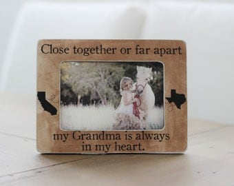 Grandma Long Distance Personalized Picture Frame GIFT for Grandma Grandmother States Close Together or Far Apart Quote