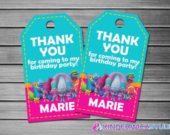 Trolls Thank You Tags, Trolls Favor Tags, Trolls Gift Tags, Trolls Tags, Trolls Tag Printable, Trolls Birthday Tags, Trolls Movie Tags