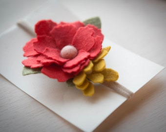 Coral Red with Mustard Felt Flower Headband