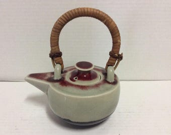 Ceramic Japanese Teapot Bamboo Handle