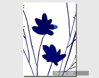 Flower Indigo, watercolors, blue minimalist art, contemporary art, abstract art, illustration, printable download