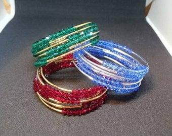 Emerald crystal bangle