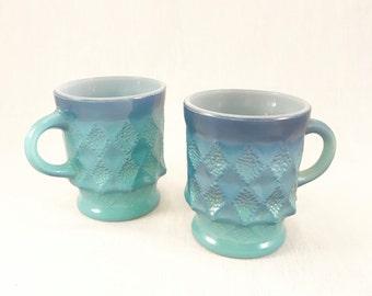Blue Ombre Kimberly Diamond Fire King Mugs - set of 2