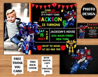 Transformers Invitations Transformers Kids Photo Birthday Party Transformers Printable Invitations Transformers Birthday Card