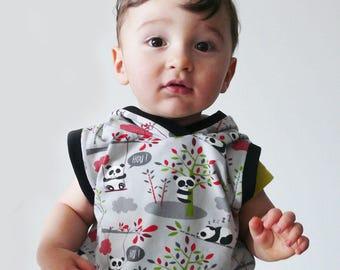 sleeveless Hoodie child boy grey pandas