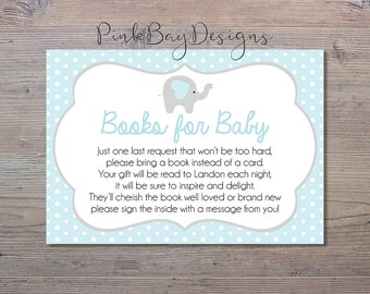 Blue Elephant Books For Baby Insert, Baby Shower Insert, Elephant Baby Shower, Books For Baby, Shower Printable, Blue And Grey Shower