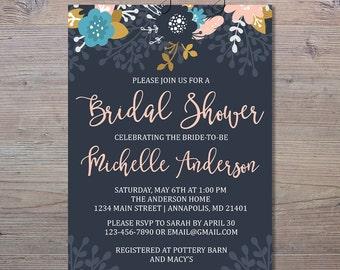 Navy Floral Bridal Shower Invitation, Floral Shower Invitation, Pink Floral Bridal Shower, Blush Floral Invitation, Bridal Shower Invitation