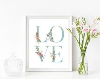 Floral Love Print, Art Floral Love, Floral Wall Decor, Flower Print, Love Art Print, Nursery Decor, Instant Download, Floral Print