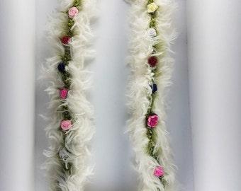 White with Multi-color Flower Mauna Loa Lei