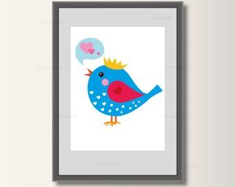 Bird, art print, art print, children's art, minimalist set pressure, Scandinavian print, abstract posters, minimal print
