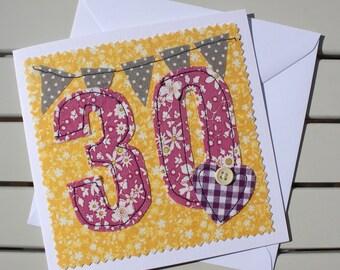 30th Birthday Card - Handmade - Machine Embroidered - 30 - Personalised Insert