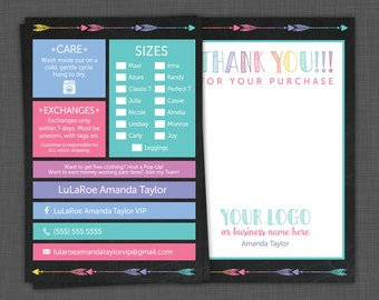 Lularoe Thank You - My Size Card - Lularoe Care Card - Care Instructions - Thank You Card with Thank You Note, custom