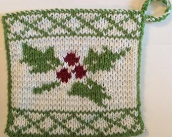 Hand Knit Holly Potholder