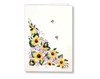 Sunflower Surprise Sunflower Art Card,  Blank Note Cards, Fine Art Cards Art Prints Note Card Set, Greeting Cards, Gift Cards for Stationary