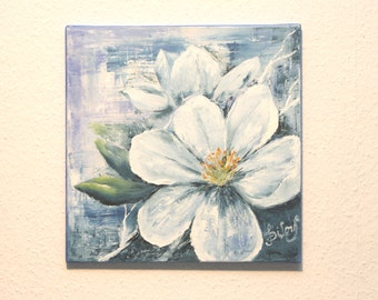 A Light Cherry Flower - Oil Painting, Hand Painted Flower 40 x 40 cm