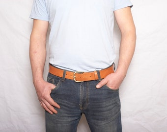 Mens tan leather jeans belt with detachable buckle