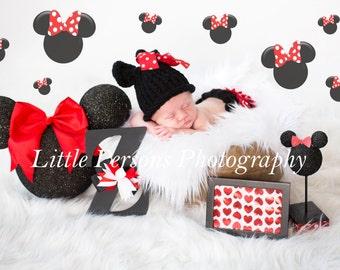 Crochet Baby Girl Minnie Mouse Beanie + Diaper Cover Newborn Handmade Photo Photography Prop Baby Shower Gift