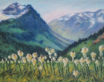 BEARGRASS WILDFLOWER Landscape from GLACIER National Park in Original 8.5 x 11.5 Pastel Painting by Sharon Weiss