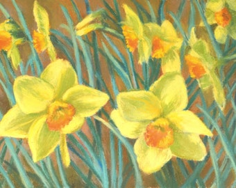 DAFFODILS in a Field from GIBBS GARDENS in Original 8 x 11 Pastel Painting by Sharon Weiss